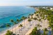 Leinwandbild Motiv Aerial view of beautiful white sandy beach in Punta Cana, Dominican Republic