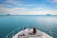 Luxury Cruise Travel On The Yacht, Romantic Honeymoon Vacation For Two On The Sea Beach