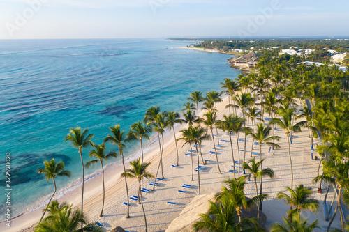 Cuadros en Lienzo Aerial view of beautiful white sandy beach in Punta Cana, Dominican Republic