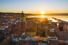 France, Aerial View Of St Tropez Harbor At Sunset