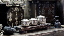 Old Crockery And Tableware Sets And Kitchen Furniture Are Antique And Simple