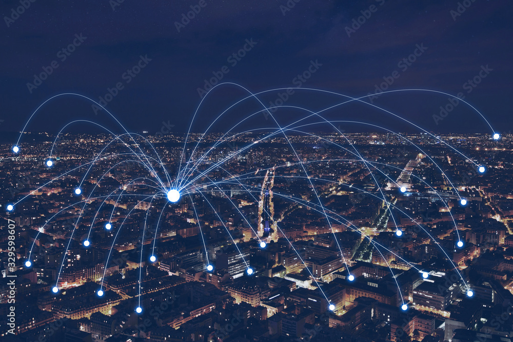 Fototapeta network communication or distribution concept, connection line from central point over night city
