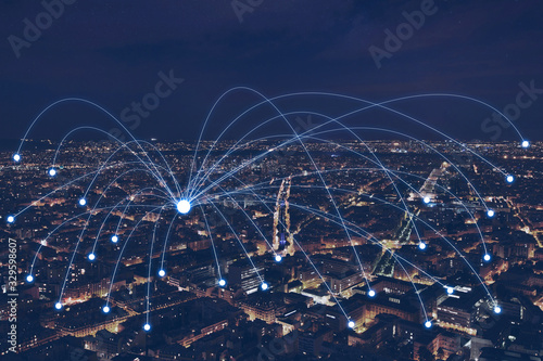 Fototapeta network communication or distribution concept, connection line from central point over night city obraz