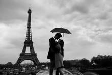 Retro View Of Paris, Couple Un...