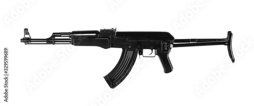 black AK-47 assault rifle isolated on white background Canvas Print