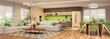 Modern house interior kitchen with living room design. 3D Render