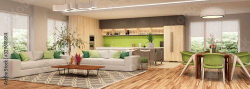 Cuadros en Lienzo Modern house interior kitchen with living room design. 3D Render