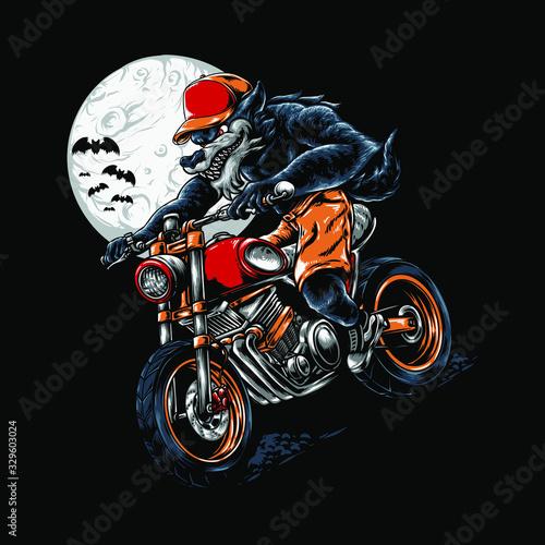 Fototapeta Werewolf Riding Halloween Illustration
