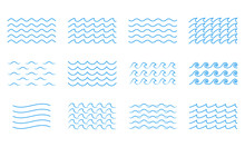Wave Line Icon Set. Water Outl...