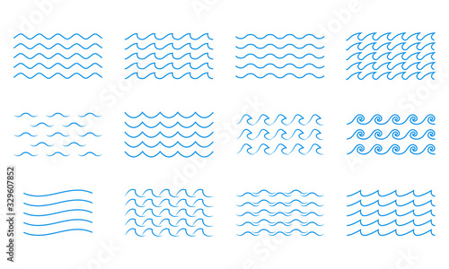 Obraz Wave line icon set. Water outline symbol. Sea and Ocean signs. Vector illustration. - fototapety do salonu