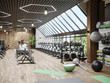 Modern gym interior with sport and fitness equipment and panoramic windows, fitness center inteior, inteior of crossfit and workout gym, 3d rendering