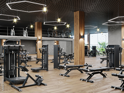 Modern gym interior with sport and fitness equipment, fitness center inteior, in Fototapeta