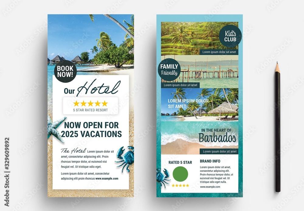 Fototapeta Dl Flyer Layout with Beach Illustration Elements