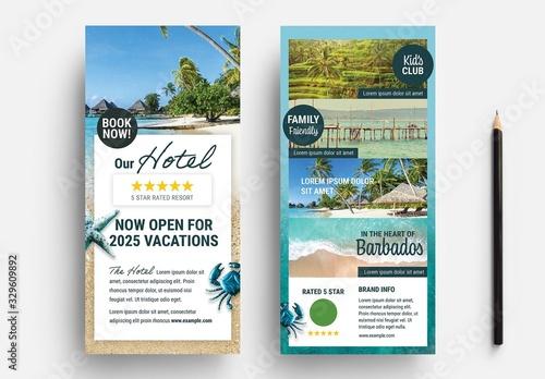 Obraz Dl Flyer Layout with Beach Illustration Elements - fototapety do salonu