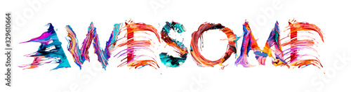 AWESOME banner with colorful brush strokes Canvas Print