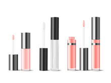 Realistic Mockups Of Glass Tubes For Lip Gloss Or Lip Lacquer. Cosmetics Product Package Set For Branding. Pink And White Bottle With Brush For Liquid Lipstick Vector Illustration. Makeup For Beauty.