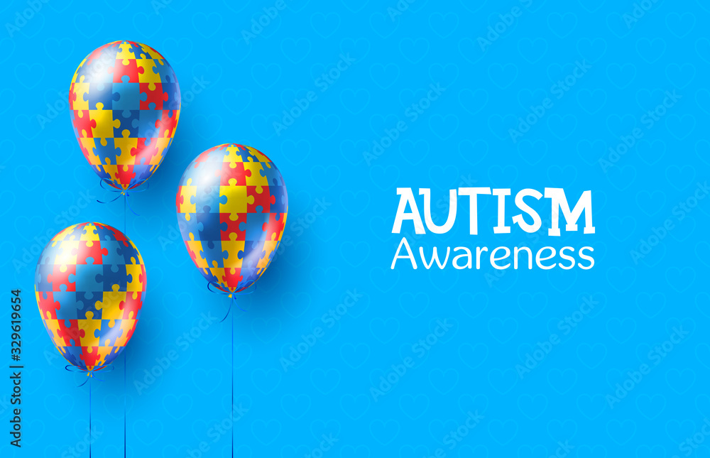 Fototapeta World autism awareness day. Colorful puzzles vector blue background with balloons. Symbol of autism. Medical illustration. Health care. Balloons with puzzles