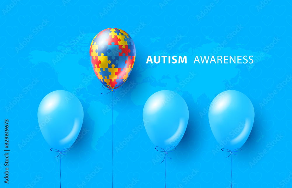 Fototapeta World autism awareness day. Blue, colorful puzzles, balloon, vector background. Symbol of autism. Medical flat illustration. Health care