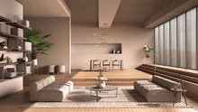 Modern Living Room In Beige To...