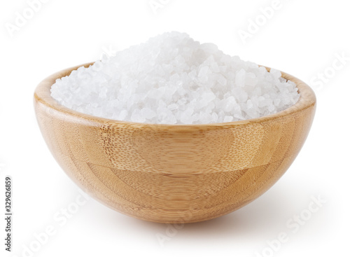 Sea salt in wooden bowl isolated on white background with clipping path Canvas