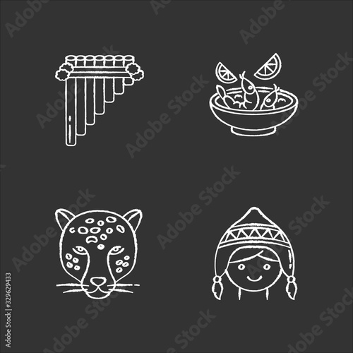 Peru chalk white icons set on black background Canvas Print