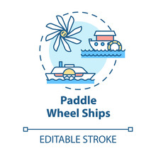Paddle Wheel Ship Concept Icon. Vintage Steamship. Retro River Boat. Steamer Ship. Water Vessel. Steamboat Idea Thin Line Illustration. Vector Isolated Outline RGB Color Drawing. Editable Stroke