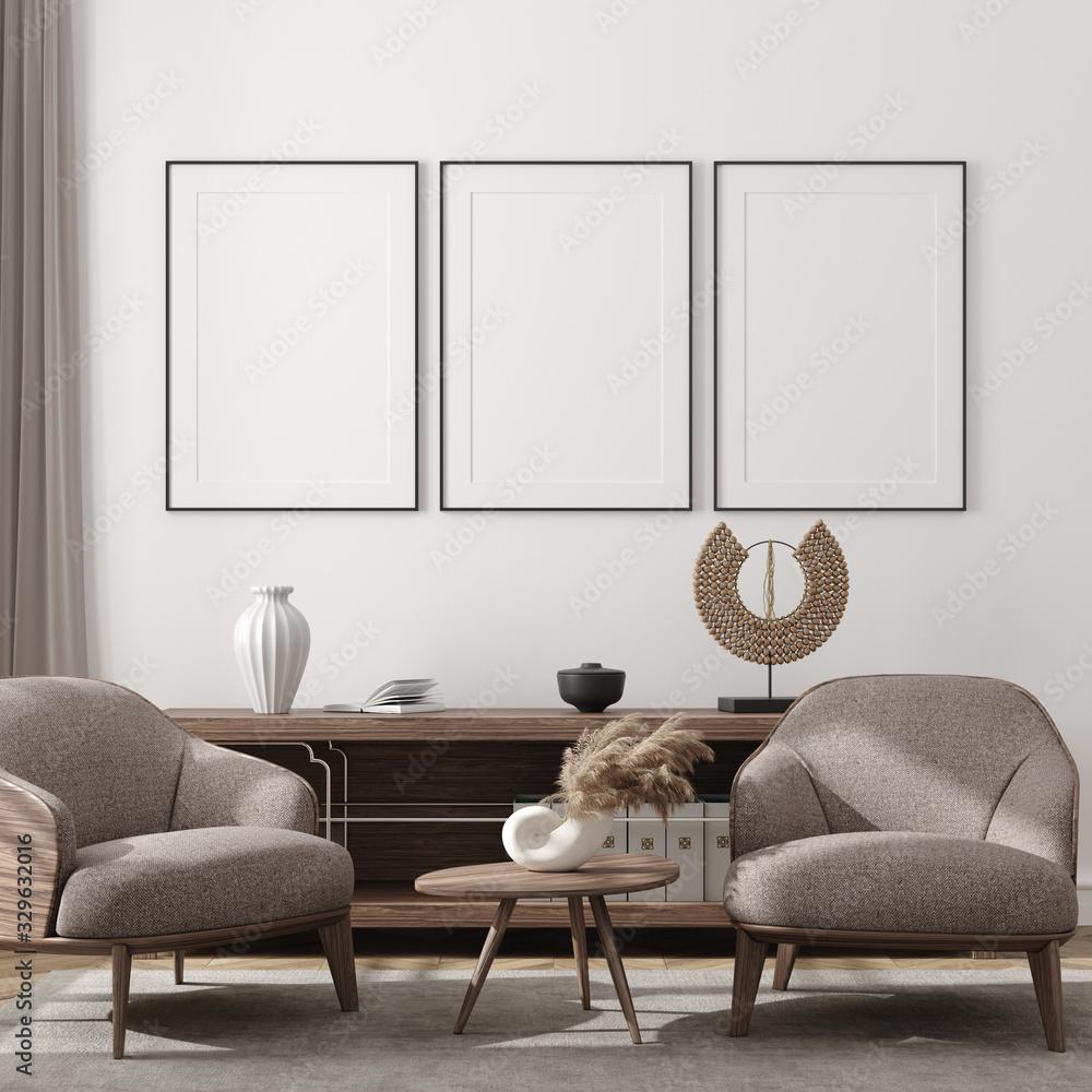 Fototapeta Mockup poster in modern living room interior background, 3D render