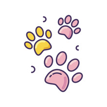 Pet Paw Prints Pink RGB Color Icon. Animal Footprints. Dog Walk Trail. Track Of Cat Steps. Bear Pawprint. Puppy Foot. Veterinary Service. Shelter Sign. Zoo Symbol. Isolated Vector Illustration