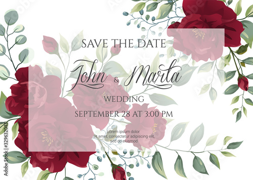 Obraz wedding invitation card with red roses, watercolor, leaves and golden geometric frame. Floral Trendy templates for banner, flyer, poster, greeting. Vector illustration. eps10 - fototapety do salonu
