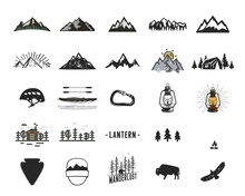 Vintage Camping Icons And Adve...