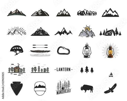 Fotografia, Obraz Vintage camping icons and adventure symbols illustrations set