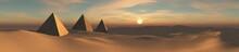 Desert Panorama With Pyramids ...