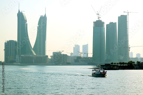 Bahrain Financial Harbor District with the Unique Landmark, Manama Bahrain Canvas Print
