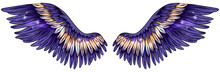 Beautiful Gradient Glowing Shiny Violet Yellow Wings, Vector