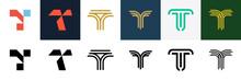 Set Of Letter T Logo. Icon Des...