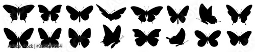 Butterflies silhouette set. Vector illustration - 329649884