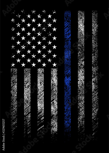 Fotografie, Tablou grunge usa police flag with thin blue line vector design