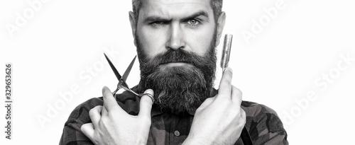 Mens haircut in barber shop. Barber scissors and straight razor, barber shop....