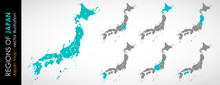Color Vector Map Of Japan With...