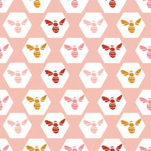 Seamless Vector Pattern With Honey Bee In Circle In Wine, Gold, Cream With A Pink Background. Great For Textiles, Home, Interiors, Wallpaper Projects. Surface Pattern Design.