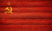 Soviet Udssr Flag Wooden Plank...