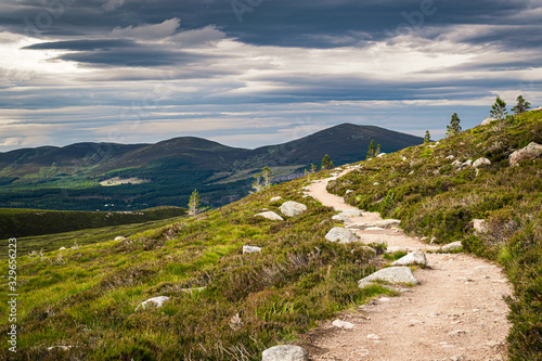 Hiking trail near Aviemore in Scottish Highlands with Cairngorms peaks on the horizon Wallpaper Mural
