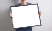Men Holding Blank White Boards...