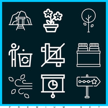 Set Of 9 Ecology Outline Icons