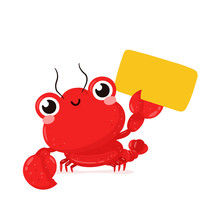 Cute Happy Smiling Lobster With Empty Sign