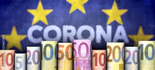 Coronavirus, Geld und EU Canvas Print