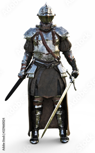 Brave medieval knight standing with a full suit of armor and holding a sword weapon on a white background Canvas Print