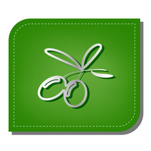 Olives Sign Illustration. Silver Gradient Line Icon With Dark Green Shadow At Ecological Patched Green Leaf. Illustration.