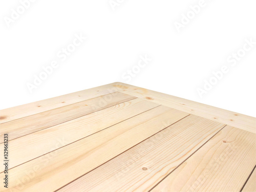 Fototapeta Perspective view of wood or wooden table corner isolated on white background including clipping path obraz
