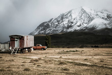 Old Farm Trailer In Patagonian Mountains